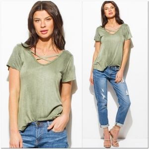NEW Olive Green Acid Washed Cut-Out Top